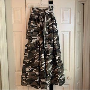Gray and white camo high waist maxi skirt